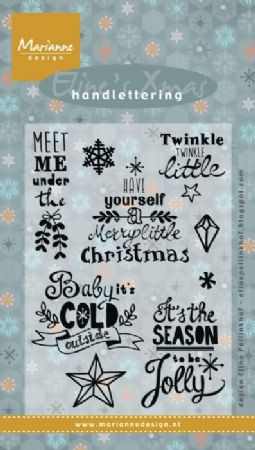 Eline's Xmas Handlettering 9 Clear Rubber Stamps by Marianne Design